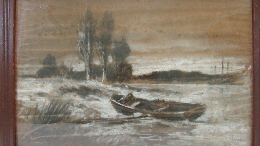 Old Framed Charcoal Landscape Drawing