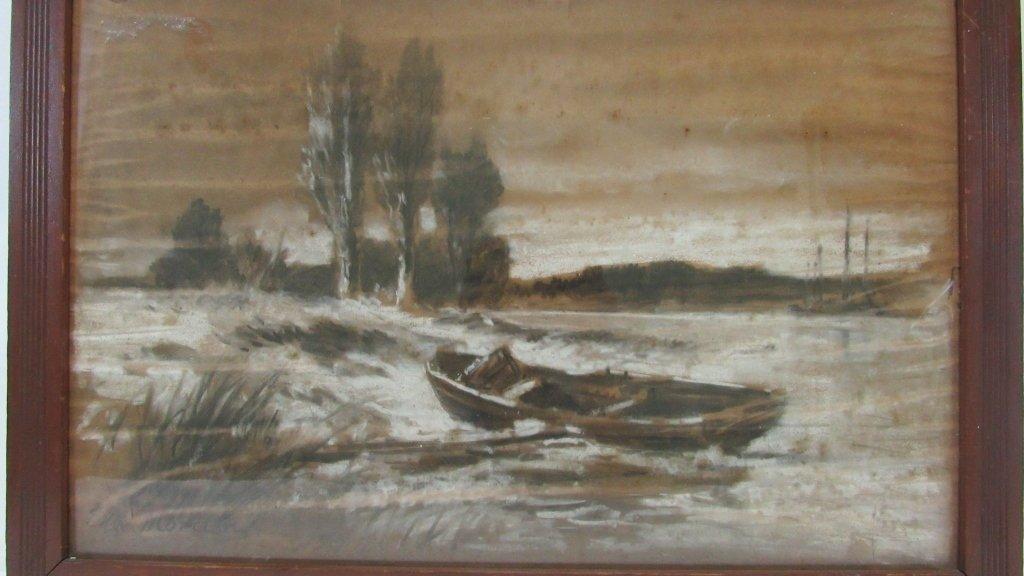Old Framed Charcoal Landscape Drawing - 2