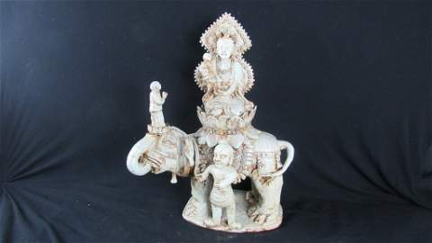 Tang Dynasty Style Guan Yin on Elephant Statue