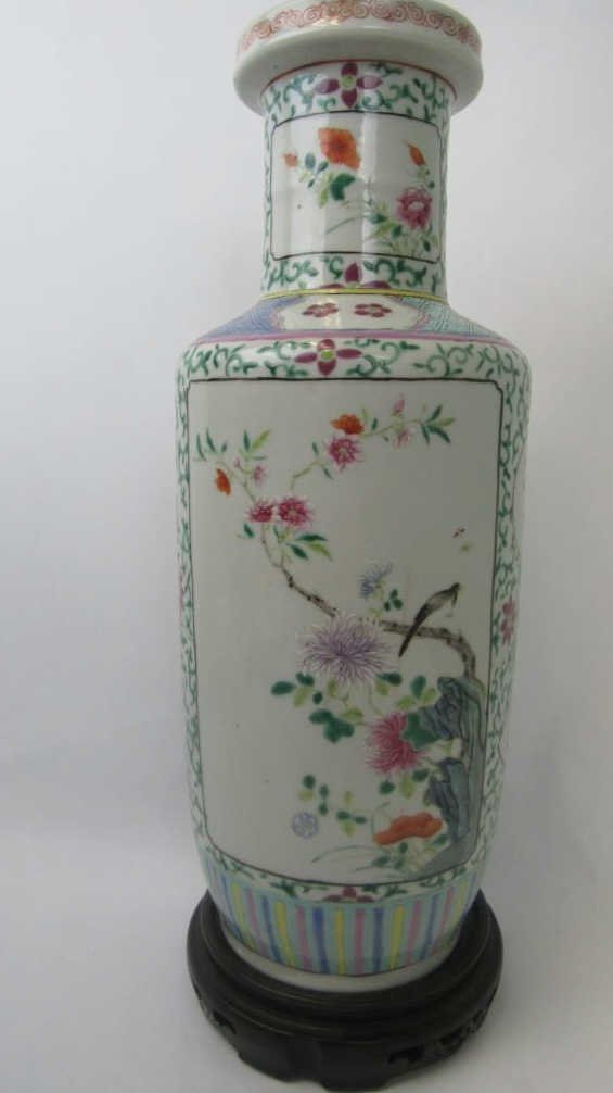 Chinese Famille Rose Vase with Bird and Flowers