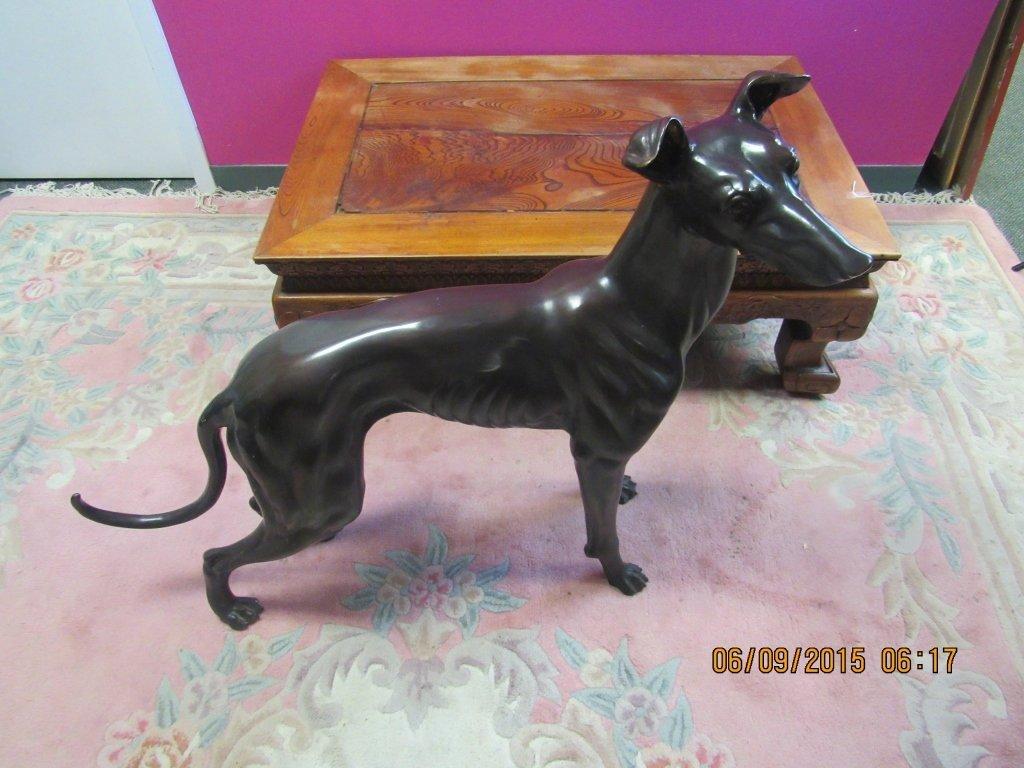 Life-Size Antique Bronze Greyhound Statue - 4