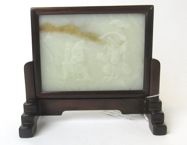 Chinese Carved White Jade Screen with Wood Frame