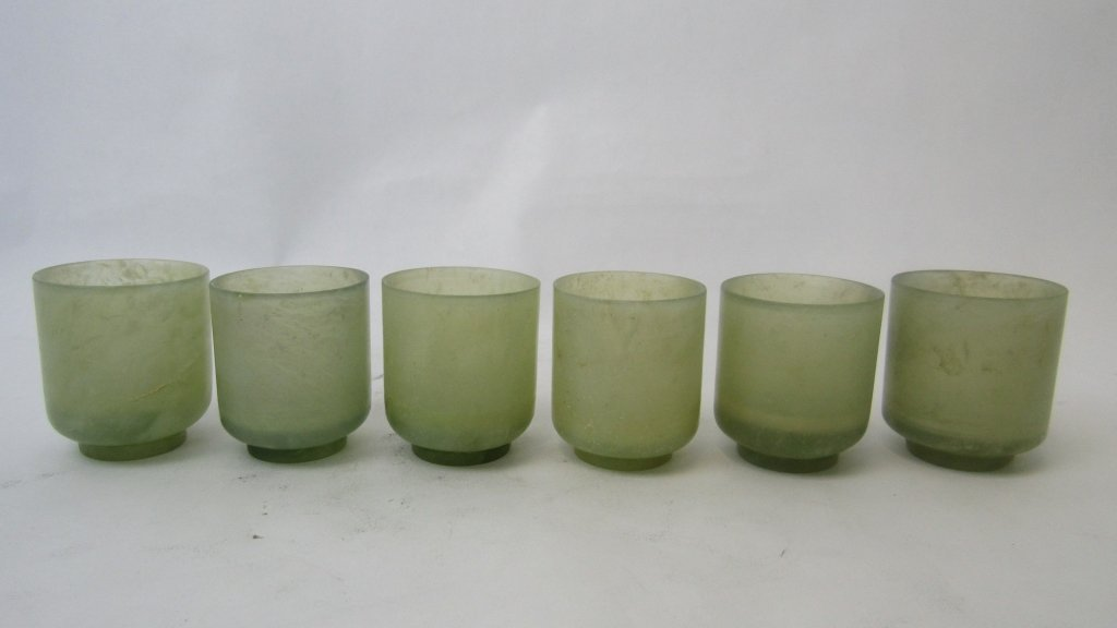 Set of Six Antique Chinese Pale Green Jade Teacups