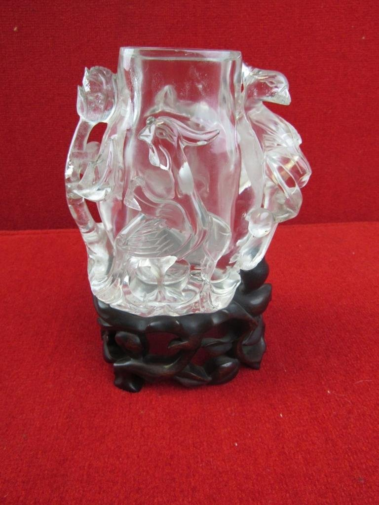 Chinese Carved Crystal Brush Holder