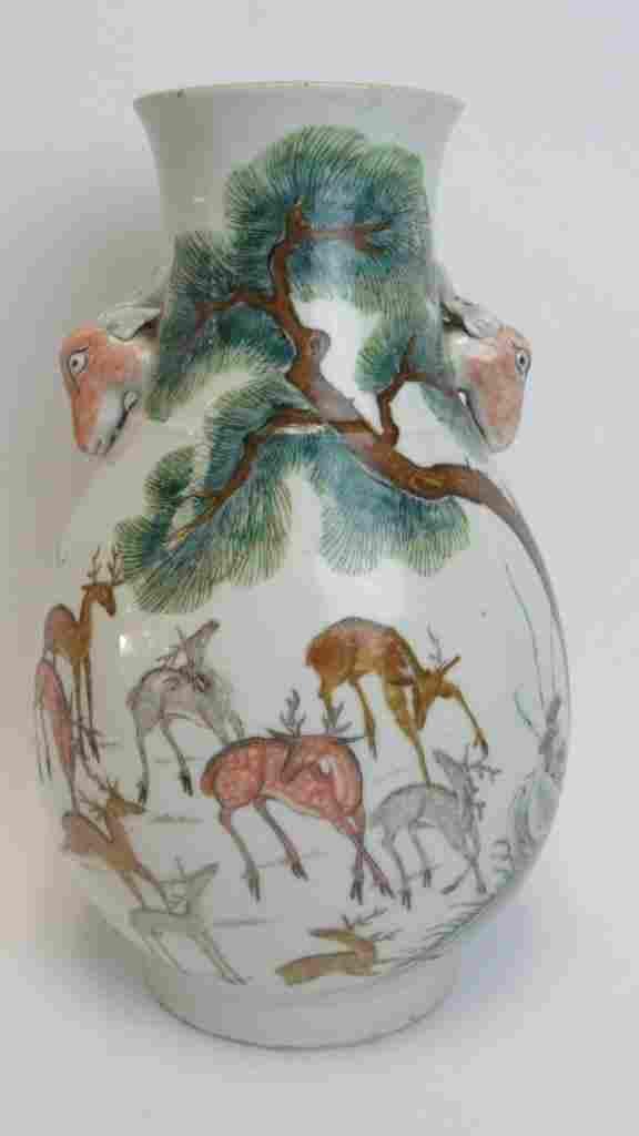 Chinese Qing Dynasty Deer Vase