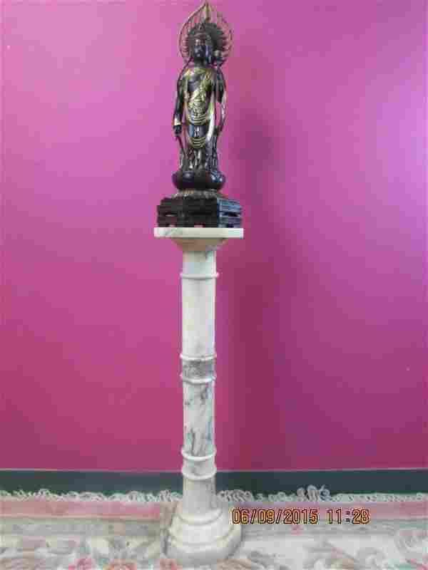 Chinese Bronze Buddha Statue & Marble Stand
