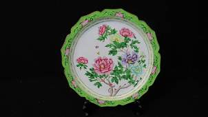 Old Chinese Green Floral Cloisonne Plate