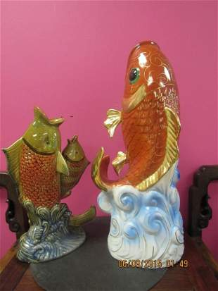 Two Chinese Porcelain Fish Vases