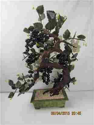 Chinese 20th Century Jade Flower Basket