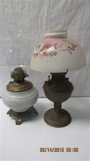 Two Antique Glass or Ceramic & Metal Oil Lamps