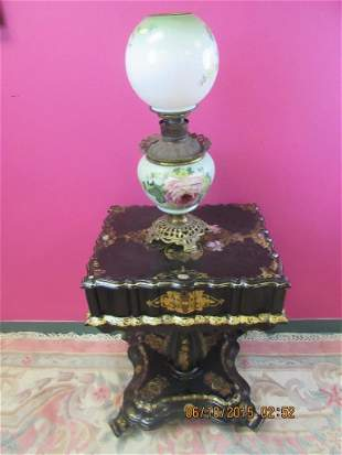 Victorian Glass & Bronze Hand Painted Oil Lamp