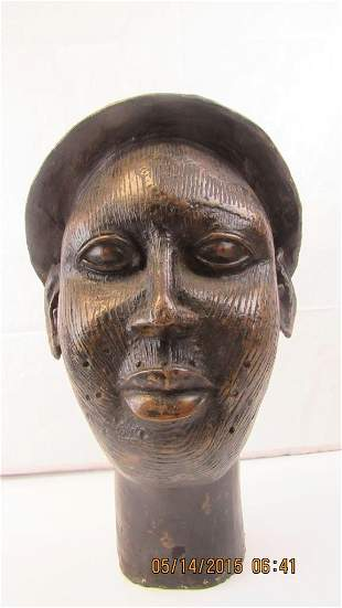African Tribal Bronze Head Sculpture