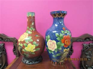 Two Chinese Metal-Clad Porcelain Vases