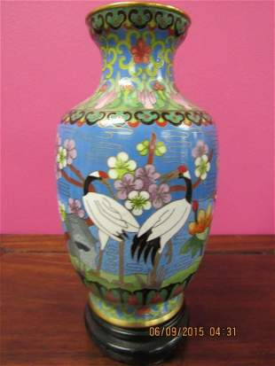 Chinese Cloisonne Vase with Cranes