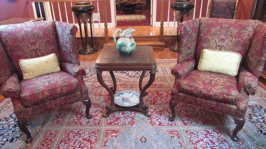 Pair Floral Upholstered Wingback Chairs