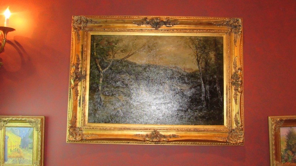 Oil on Canvas of Woman in Woods. Ornately Framed