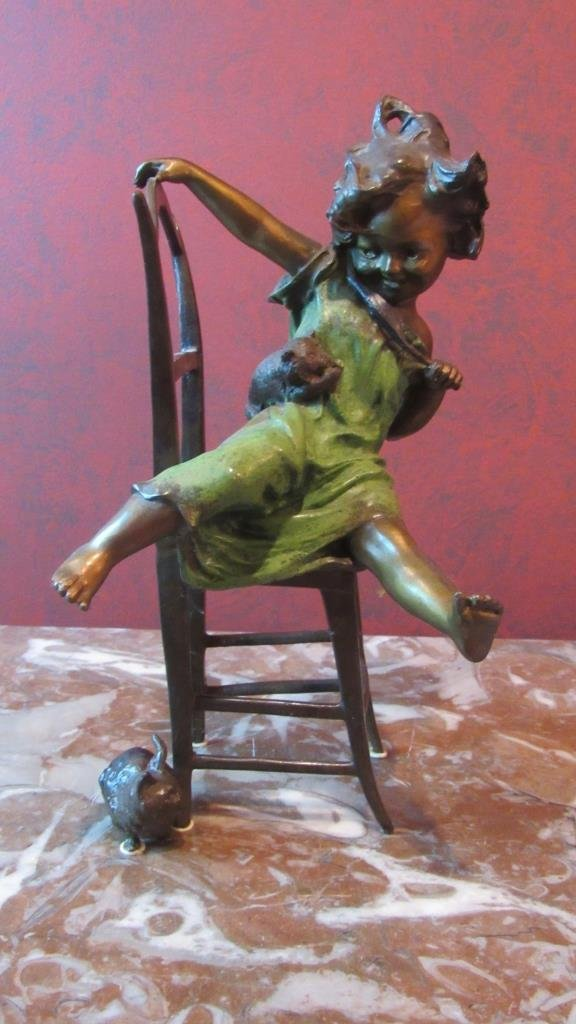 Bronze Girl on Chair playing w/Cats