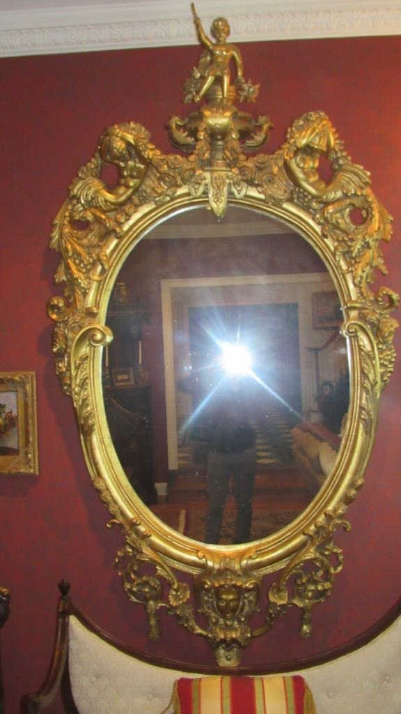 Oval Convex Mirror Ornate Gilt Wood Frame