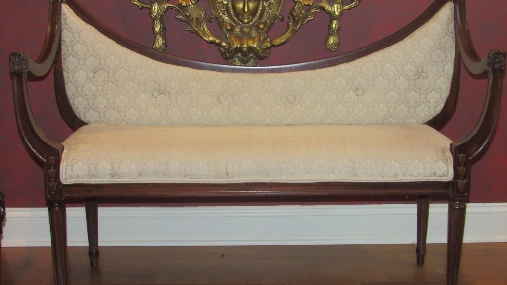 Early Carved Settee w/White Cushions