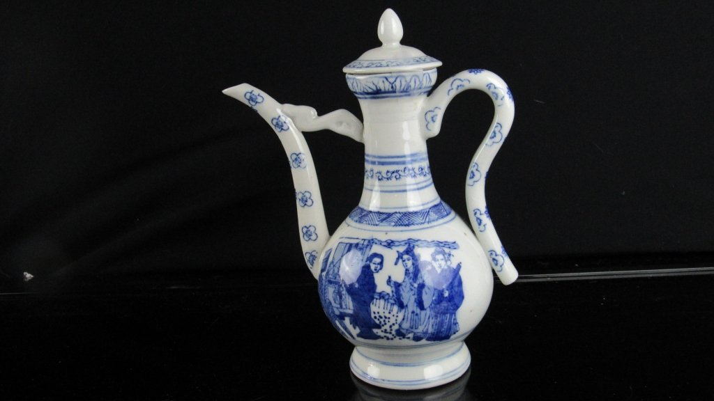 Qing Dynasty Style White and Blue Chinese Teapot