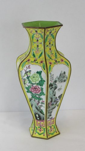 Chinese Cloisonne Copper Enamel Painted Vase
