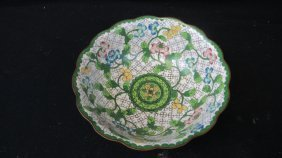 Chinese Qing Dynasty Cloisonne Floral Bowl