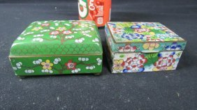 Pair Of Old Chinese Cloisonne Jewelry Boxes
