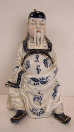 Chinese Blue And White Li Hong Zhang Statue