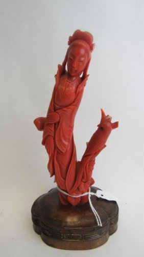 Chinese Red Coral Carving