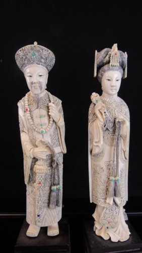 Lobster Shell Carving Chinese King And Queen