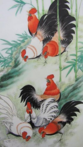 Asian Arts Painting Of Roosters Feeding