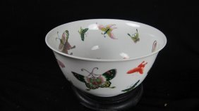19th Century Chinese Butterfly Bowl