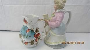 German Figural Teapot & Pitcher