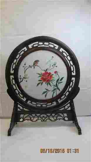 Chinese Embroidered Silk Panel in Frame