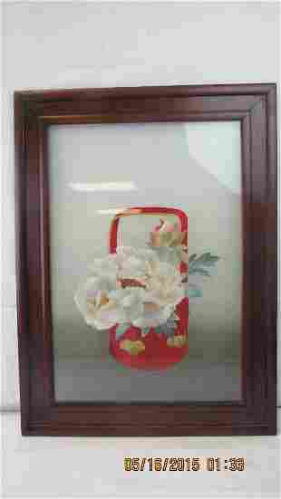 Chinese Silk Embroidered Panel in Frame