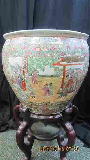 Qing Dynasty Style Large Fishbowl w/Stand