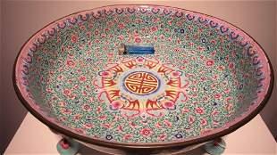 Turquoise Famille Rose Enameled Tripod Censer