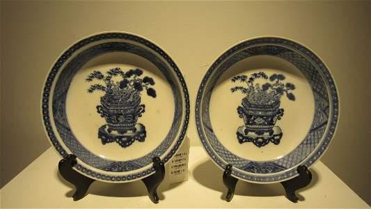 Pair of Blue & White Porcelain Soft Paste Dishes