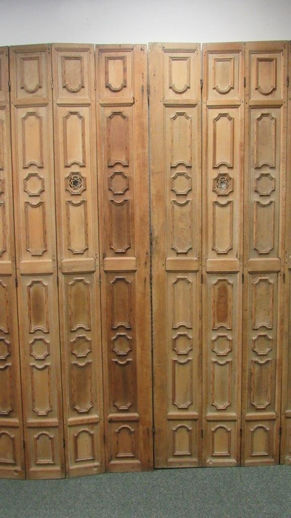 Carved Oak Eight Panel Screen