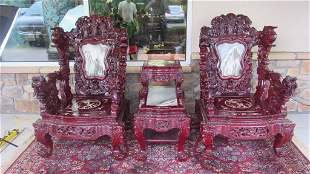 Chinese Rosewood Chairs and Table Set