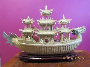 Bone Carved Dragon Ship