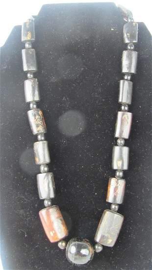 Dark Coral Bead Necklace