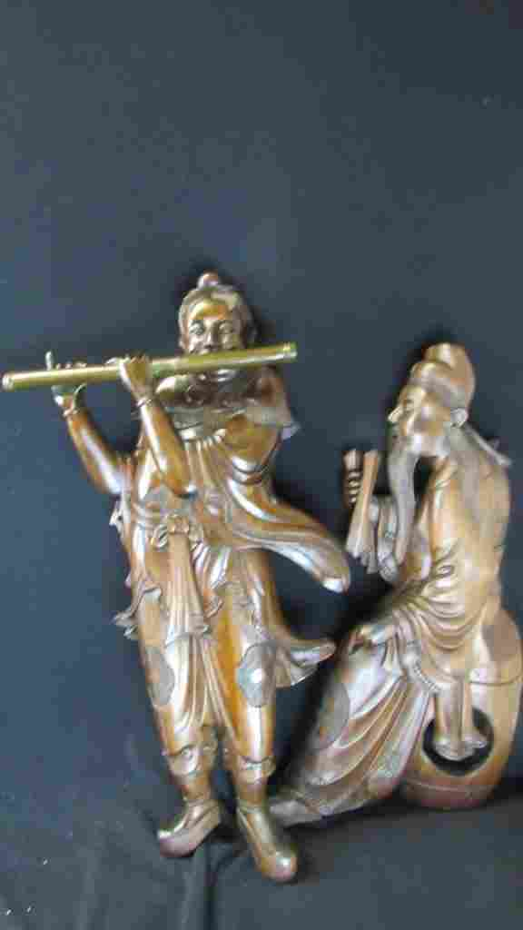 Pair of Old Hand Carved Wood Statue