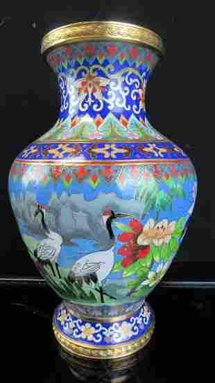 Chinese Blue Cloisonne Crane Vase
