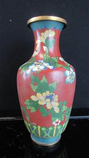 Qing Dynasty Red Cloisonne Vase