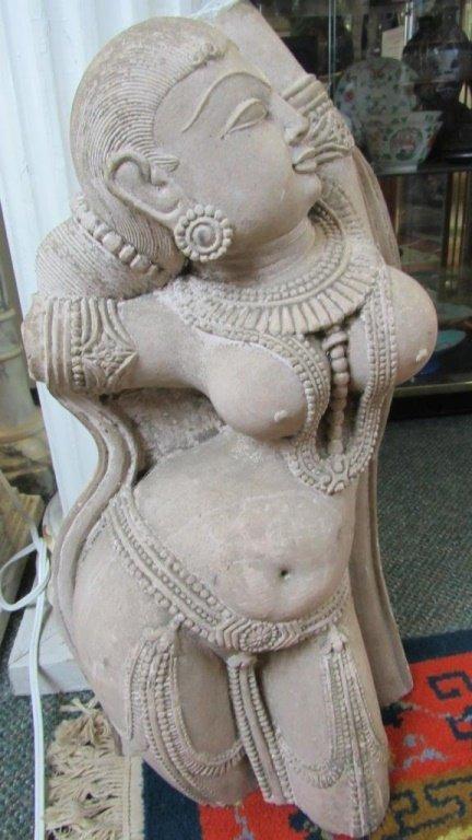 Stunning Carved Stone Indian Goddess Figure