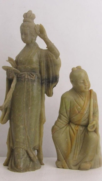 Pair Very Old Soap Stone Chinese Statue