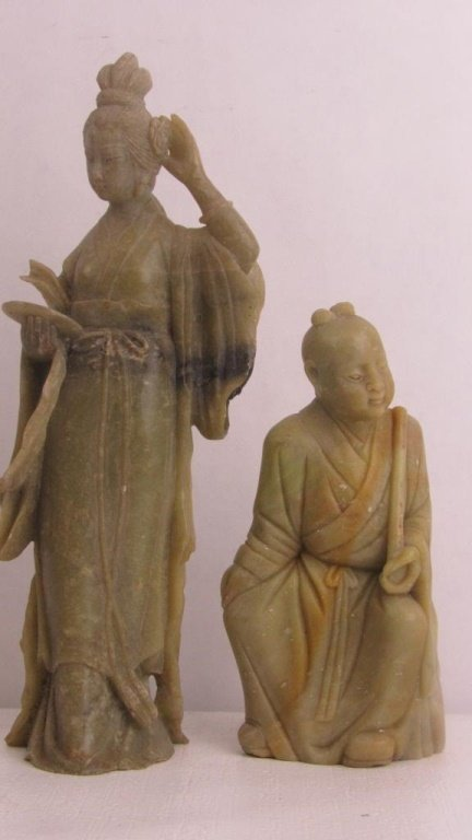 Pair Very Old Soap Stone Chinese Statue - 2
