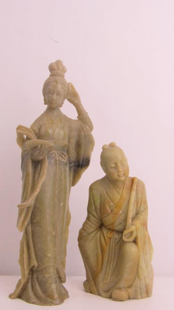 Pair Very Old Soap Stone Chinese Statue - 3