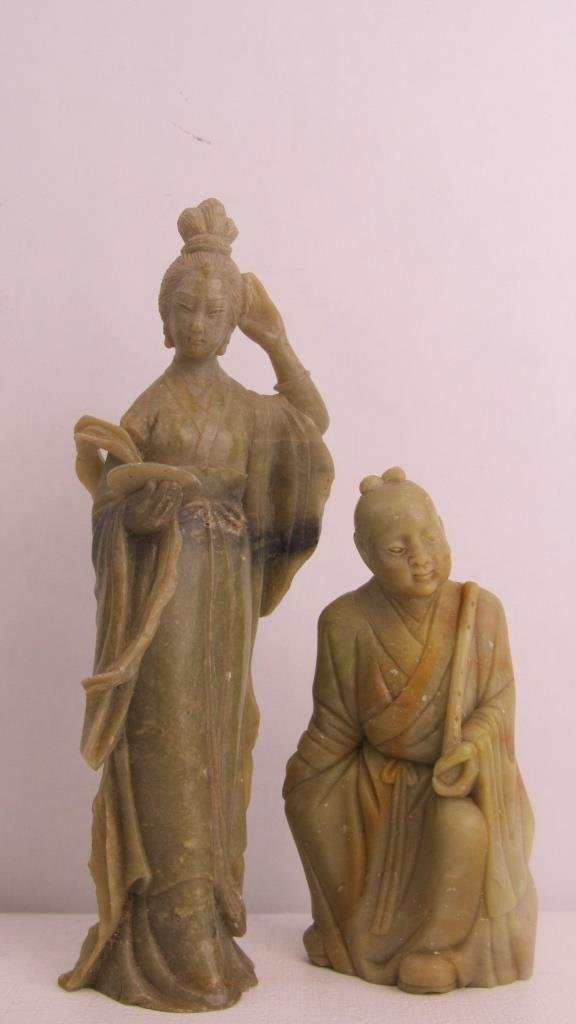 Pair Very Old Soap Stone Chinese Statue - 4
